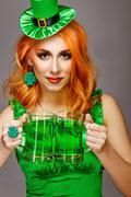 Girl wearing leprechaun - stock photo