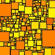 Golden, orange and yellow color squares on black illustration. Stock Illustration