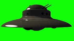 Military UFO with guns - Unidentified flying object on greenscreen Stock Footage