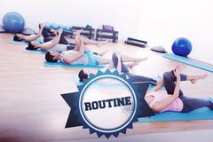 The word routine and sporty people stretching legs Stock Photos