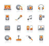 Media & Entertainment Web Icons // Graphite Series Stock Illustration
