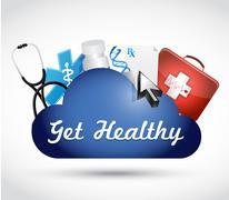 Get healthy medical cloud illustration design Stock Illustration