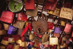 Love locks on a bridge Stock Photos