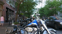 Harley Motorcycle Bike on the Street in Nashville Stock Footage