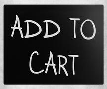 """""""Add to cart"""" handwritten with white chalk on a blackboard Stock Photos"""