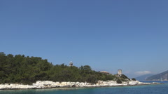Landscape with ITHAKI island seashore seen from a boat trip in a summer day. - stock footage