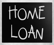 """Home loan"" handwritten with white chalk on a blackboard Kuvituskuvat"