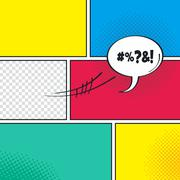 comic template element with speech bubble halftone art - stock illustration