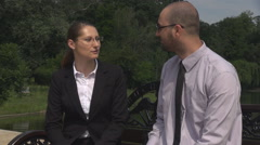 Lunch break time for corporatist people happy couple in park, late on work place Arkistovideo