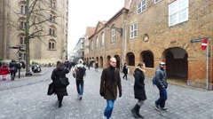 Being a pedestrian in Copenhagen, enjoying the street life Stock Footage