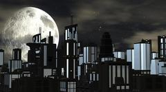 Night Futuristic City with Big Moon Piirros
