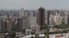 Time lape extreme close up pan shot aerial view Curitiba Skyline Stock Footage