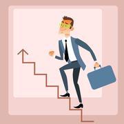 Businessman climbs growing schedule - stock illustration