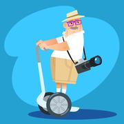Photographer tourist rides a Segway - stock illustration