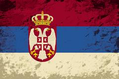 Serbian flag. Grunge background. Vector illustration Stock Illustration