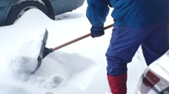 Shoveling shovel snow Stock Footage
