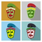 Set icons for 23 February-day of defenders of the fatherland. Postcard Congra Stock Illustration