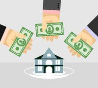 Stock Illustration of Arms and money. Buying a House. Selling a home. Business illustration
