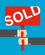 hands holding a sign. Sold text. - stock illustration