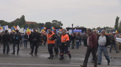 People in the street citizen wave national flag placards, support fair elections Stock Footage