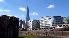 Long shot iew of the City of London with the Shard building in United Kingdom Stock Footage