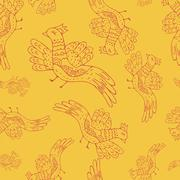 Cartoon birds pattern seamless - stock illustration