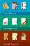 Stock Illustration of Flat icons with engineering design art planning and management