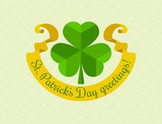 Shamrock symbol for saint patricks day with ribbon - stock illustration