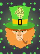 St. Patrick's Day greeting card, poster. Leprechaun with a beard - stock illustration