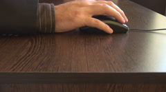Business man suit and tie using mouse clicking and scrolling right hand close up Stock Footage