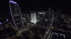 Stock Video Footage of Downtown Charlotte Aerial Night