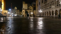 Night. Italy - Venice. Piazza San Marco. Stock Footage