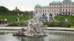 Belvedere palace in Vienna, Austria on a cloudy day Stock Footage