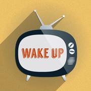 Stock Illustration of Retro TV and the Phrase 'Wake Up' on the Screen
