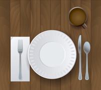 Dinner Placesetting on Wooden Background Illustration - stock illustration