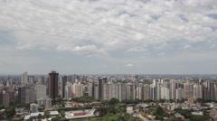 4K time lape close up pan shot aerial view Curitiba Skyline Stock Footage