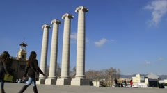 Four white columns near Palau Nacional, Barcelona. Stock Footage