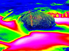 Stock Illustration of Mountain river in infrared photo. Amazing thermography.