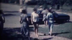 Vintage family women's fashion blue collar style - stock footage