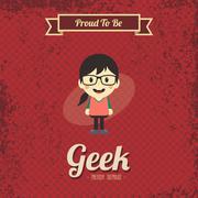 Genius geek retro cartoon Stock Illustration