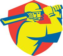 Stock Illustration of Cricket Player Batsman Batting Shield Retro