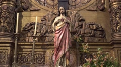 Stock Video Footage of 4k Jesus Christ cross in Jesuit college Funchal Madeira tilt up