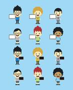 Stock Illustration of adorable boy with laptop cartoon character set