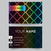 Business card template, bright elegant pattern on black background Stock Illustration