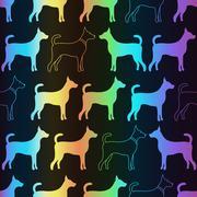 Bright spectrum seamless pattern of dog silhouettes Stock Illustration
