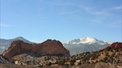 Garden of the Gods: Pikes Peak & Signature Rock Time Lapse Stock Footage