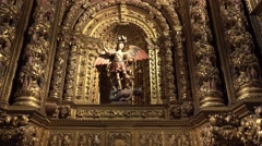 Stock Video Footage of 4k Church Jesuit college Funchal archangel figure zoom
