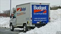 Budget rental truck van loop Stock Footage