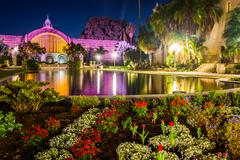 The Botanical Building and Lily Pond at night, in Balboa Park, San Diego, Cal - stock photo