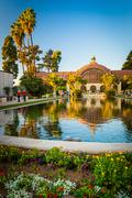 The Botanical Building and the Lily Pond, in Balboa Park, San Diego, Californ - stock photo